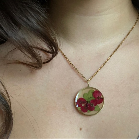 2 FOR $15: red pressed flower necklace in resin